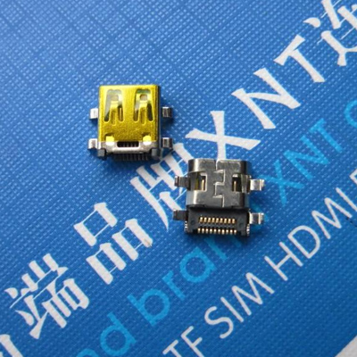 HDMI D TYPE 母座 沉板型 外壳DIP