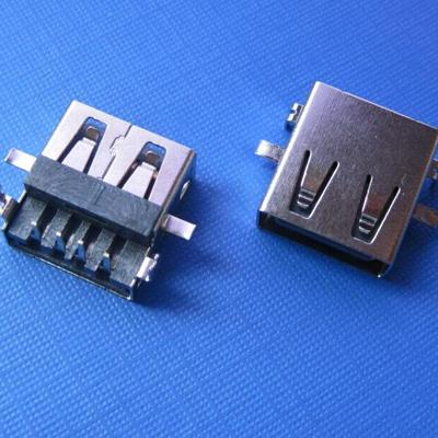 USB A type 沉板 DIP型 (焊脚:DIP, 外壳:前贴后插)