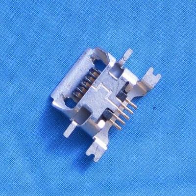 micro USB 5pin female B type沉板 1.27mm SMT 带卷边