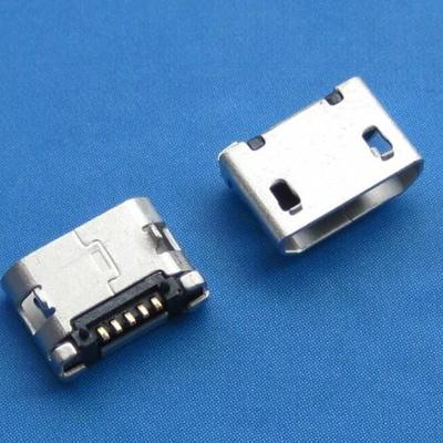 microUSB B type 5pin (焊脚:SMT, 外壳:前贴后插) 无翻边有柱6.40mm