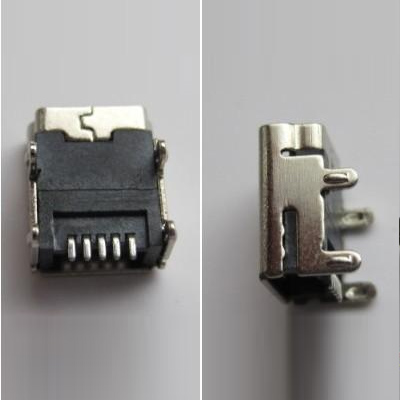 miniUSB Female 5pin (焊脚:SMT, 外壳:DIP)