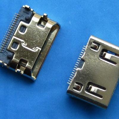 HDMI C TYPE 母座 SMT型 (外壳DIP中心距3.5mm) 斜口