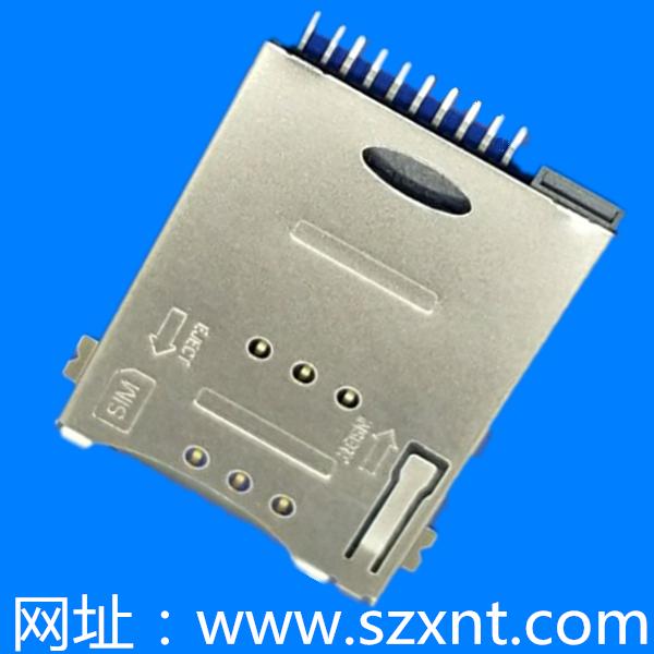 SIM卡座 push type 8pin+2pin 有CD