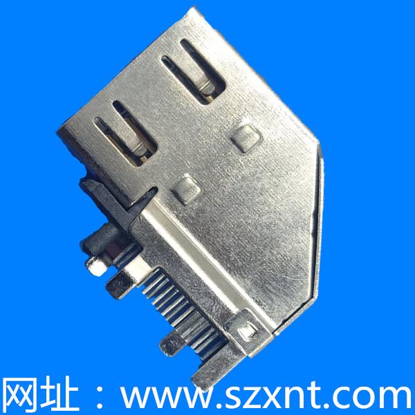 HDMI 侧插--HDMI侧插铜壳镀镍两K脚两直脚 两K脚边距7.80 针长2.3