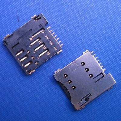 SIM卡座有柱 push type 6pin microSim connector