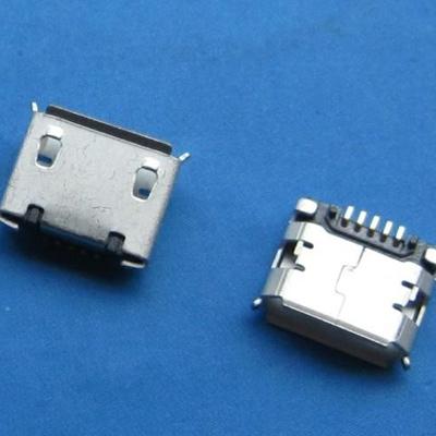 microUSB B type 5pin (焊脚:SMT, 外壳:前贴后插) 有翻边有柱6.40mm