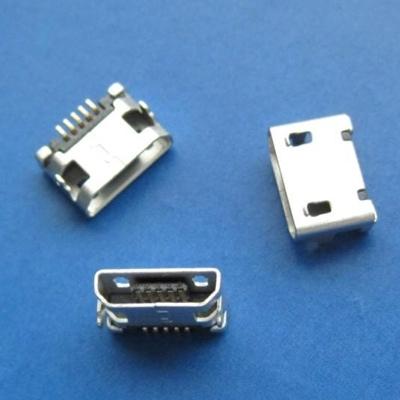 microUSB B type 5pin (焊脚:SMT, 外壳:前贴后插) 无翻边无柱7.20mm