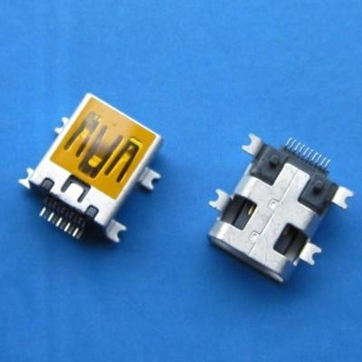 miniUSB AB type 10pin 母头(焊脚:SMT, 外壳:SMT)