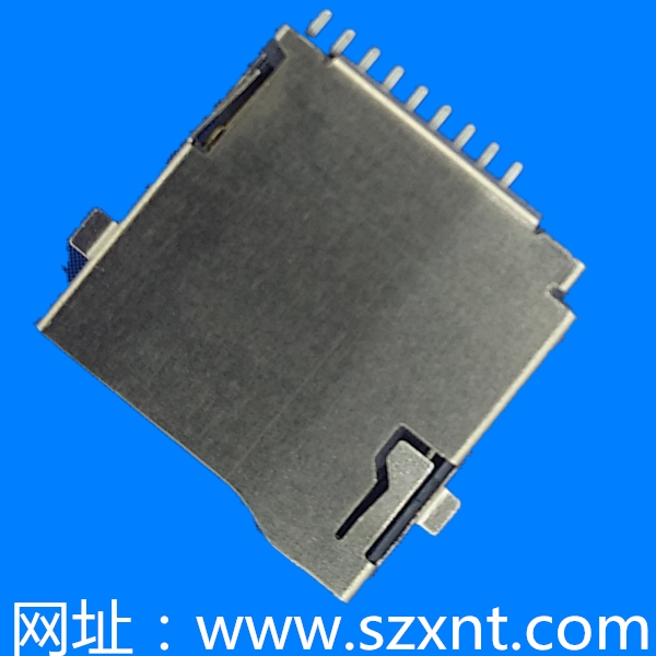 TF卡座/microSD push 沉板0.9mm外焊带侦测