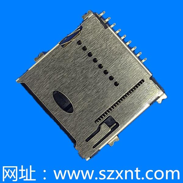 惠州TF卡座 PUSH 高1.4mm外焊带侦测/microSD push 高1.4mm外焊带侦测