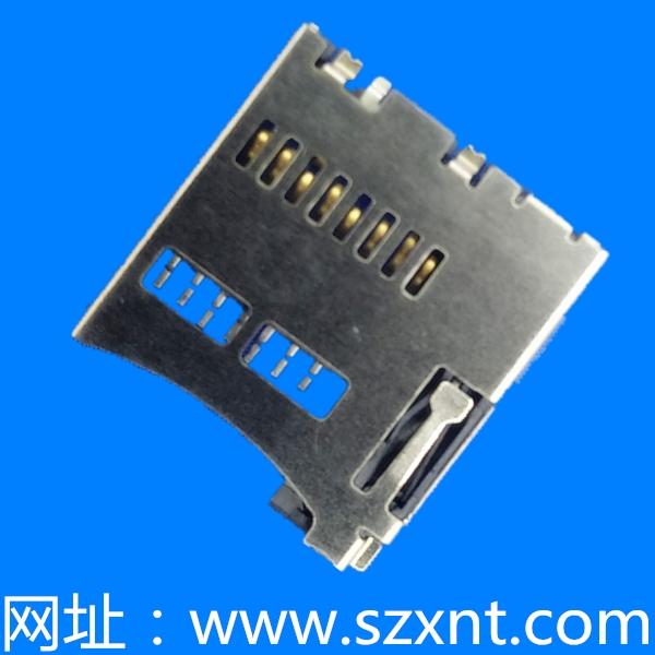 惠州TF卡座/microSD push 内焊带侦测(常开)(H=1.85mm)