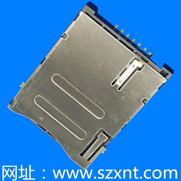 SIM卡座 push type 6+1pin 有CD(常闭) 有定位柱 后脚