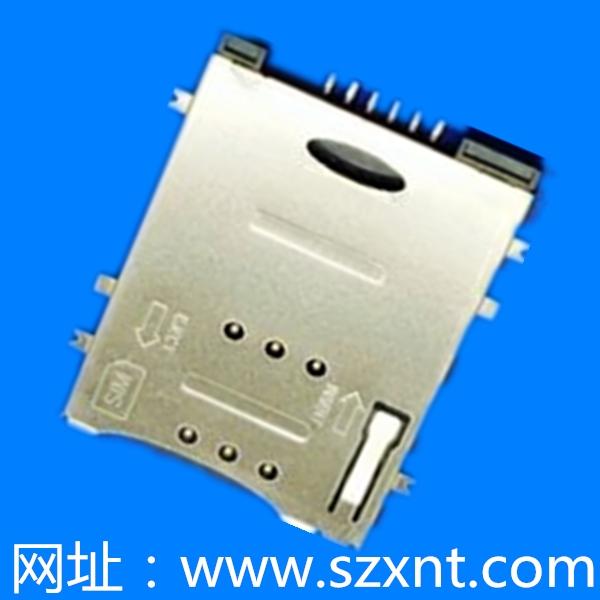 SIM卡座 push type 6Pin 沉板式