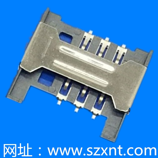 SIM卡座 hinged type 6Pin (H=1.8mm)无柱无侦测
