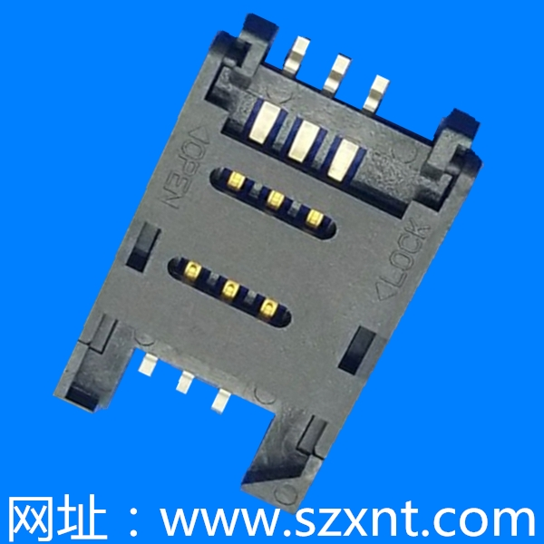 SIM卡座 CARD CONNECTOR 6PIN 掀盖式