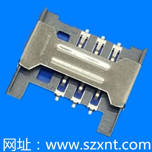 Sim no-push type 6Pin (H=1.8mm)无柱无侦测