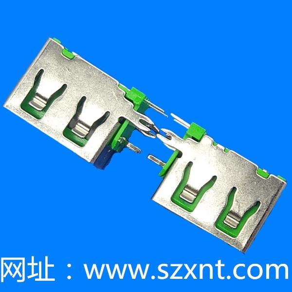 USB 短体 侧插 绿色胶芯