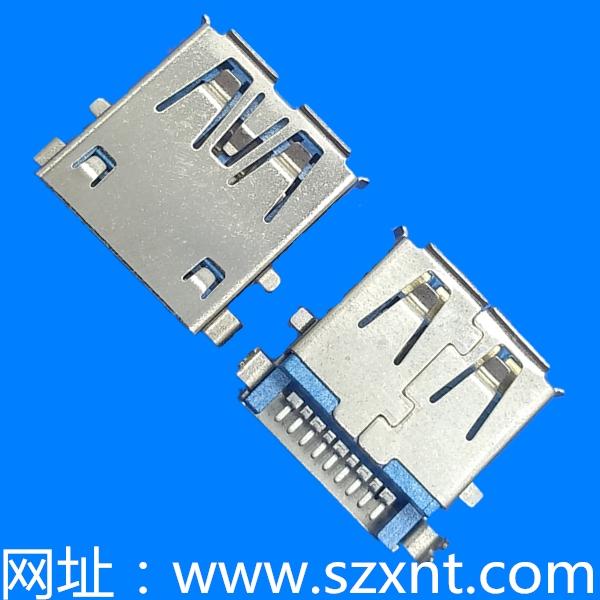 USB3.0 沉板深2.22板上高3.5有卷边端子脚SMT 鱼叉脚